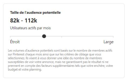 Taille de l'audience potentielle sur Pinterest Ads