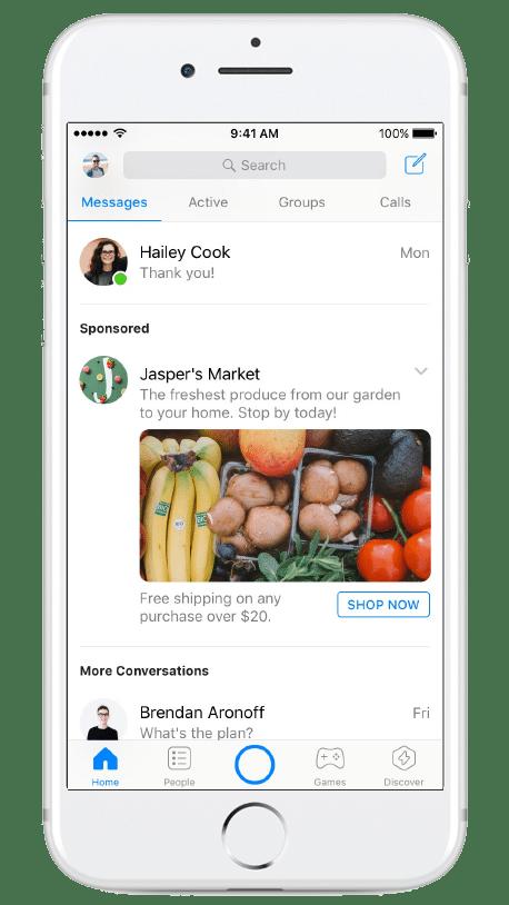 La publicité native sur Messenger