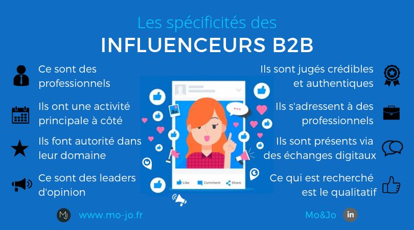 Infographie : les spécificités des influenceurs B2B