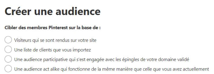 Ciblage d'audience sur Pinterest